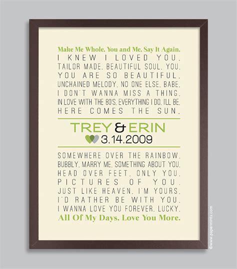 custom wedding lyrics song print personalized wedding