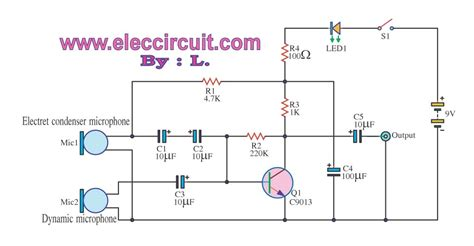 capacitor microphone circuit simple pre mic dynamic and electrec condenser micro phone electronic projects circuits