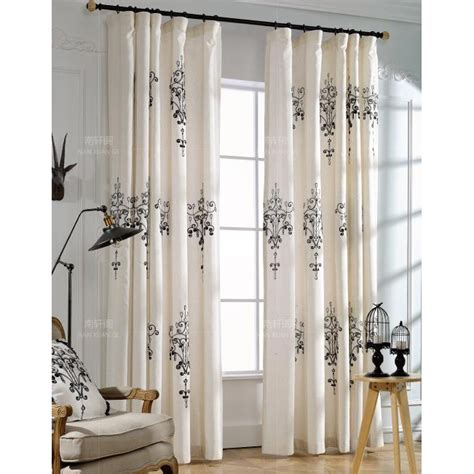 White patterned embroidery linen country curtains for living room