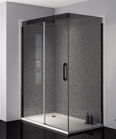 smoked glass shower doors april prestige frameless 1200mm smoked black sliding
