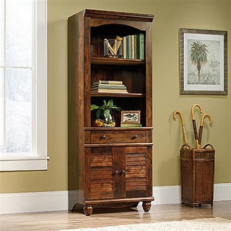 Sauder Cherry Bookcase Sauder Harbor View Curado Cherry 2 Door 1 Drawer Bookcase 420476 The Home Depot