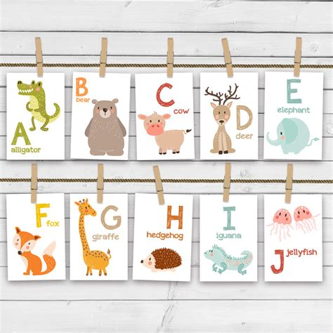printable alphabet flash cards with animals animal alphabet card set alphabet flash cards abc nursery wall