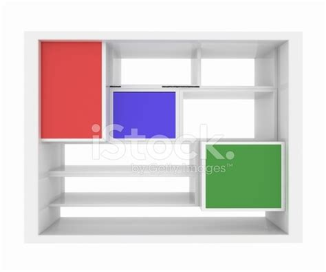 3d isolated empty colorful bookshelf stock photos