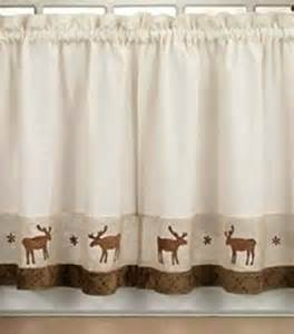 Lodge Curtains Set Of Moose 36 Quot Tiers Log Cabin Rustic Lodge Window