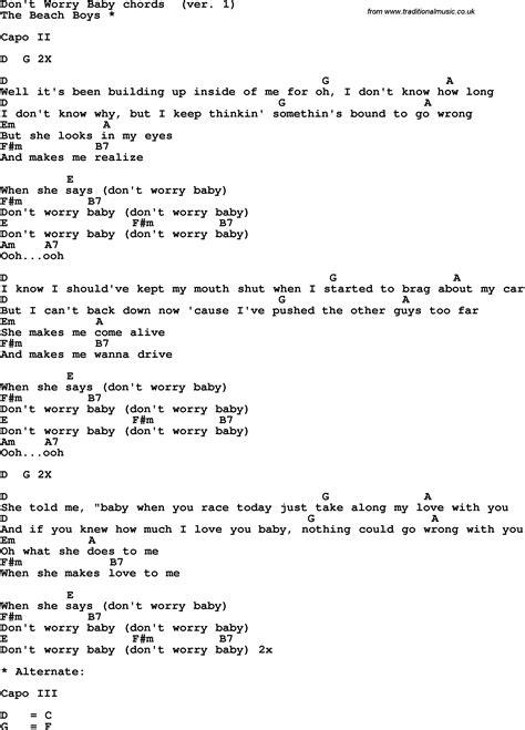 tutorial chord guitar don t worry song lyrics with guitar chords for don t worry baby