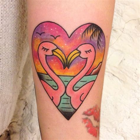 traditional heart tattoo designs flamingo school tattoos