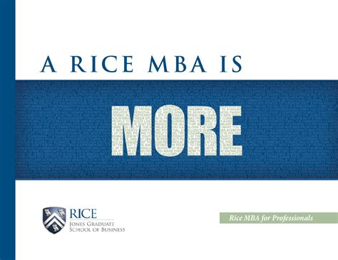 Rice Houston Mba by Rice Mba For Professionals Brochure By Rice Business Issuu