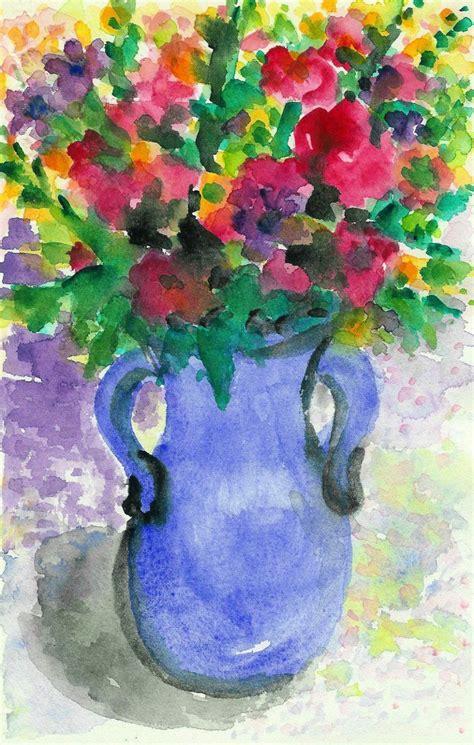 16 Vase Flowers In Blue Vase Liz Brown
