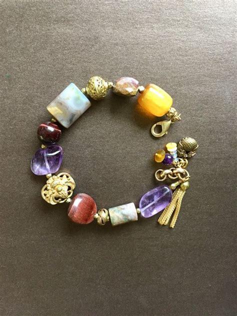 gemstone boho chic bracelet amethyst amber opals asian