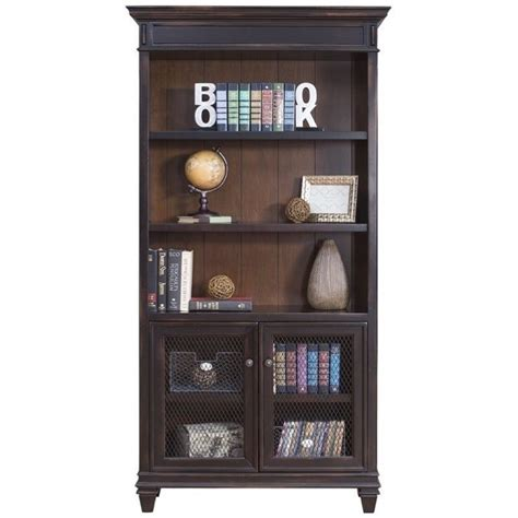 black library bookcase martin furniture hartford library bookcase in 2 tone distressed black imhf4078d