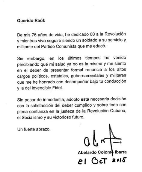 carta oficial que significa carta de abelardo colom 233 ibarra cuba granma 211 rgano oficial pcc