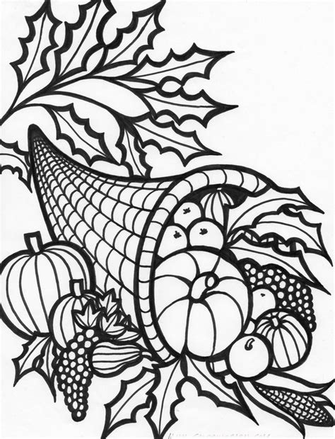Free Coloring Pages Thanksgiving Cornucopia Coloring Pages Thanksgiving Color Pages