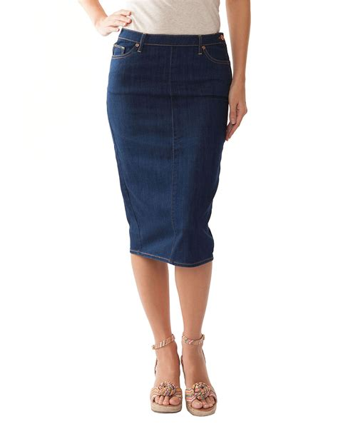 dittos denim midi pencil skirt in blue lyst