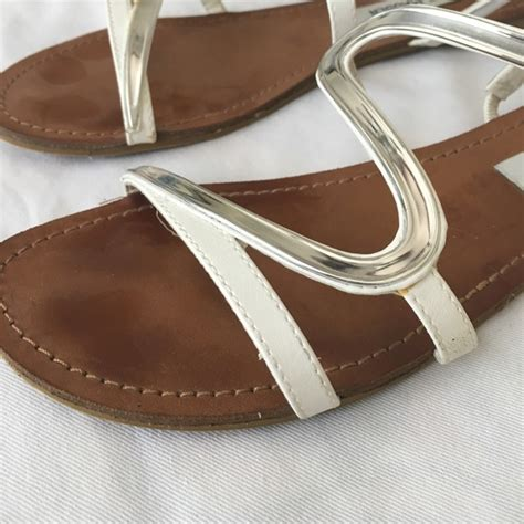 80 steve madden shoes steve madden white and silver flat sandals 8 5 from s closet