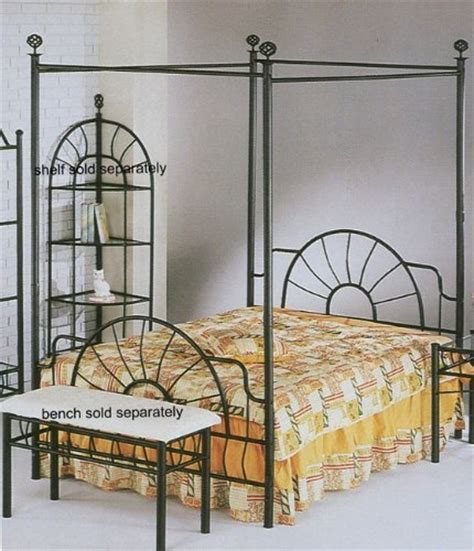 Black Metal Canopy Bed Black Sunburst Design Size Canopy Bed Headboard Footboard Canopy Ebay