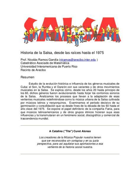 historia de la salsa nicolas ramos historia de la salsa