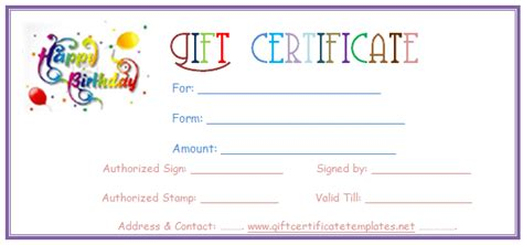 birthday gift card templates free simple balloons birthday gift certificate template