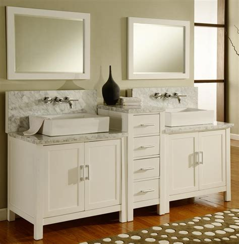 Dual Vanities by 84 Quot Horizon Vanity Sink Console With Pearl White