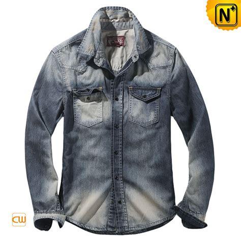 Denim Washed Shirt mens fitted acid wash denim shirt cw114312