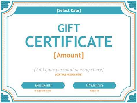 Microsoft Word Gift Card Template 20 printable gift certificates certificate templates