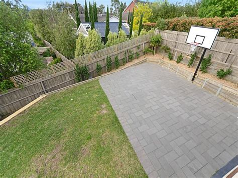 backyard with basketball court landscape design