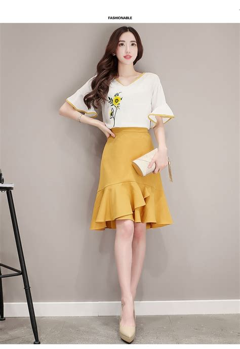 Korean Set Items Style Set Dress Im303 Yellow 2018 2017 summer fashion embroidery skirt suit korean style set flare sleeve tops