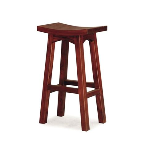 Timber Stool by Showa Solid Mahogany Timber 77cm Bar Stool Mahogany