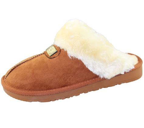 rubber bottom slippers womens fur lined slippers mules non slip rubber