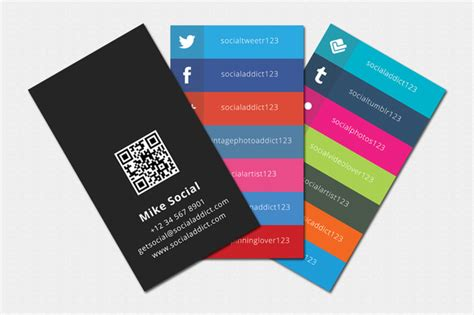 Social Addict Business Card Template Business Card Templates On Creative Market Social Media Card Template Free