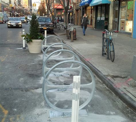 nacto streetsblog new york city eyes on the street a new bike corral and a safer