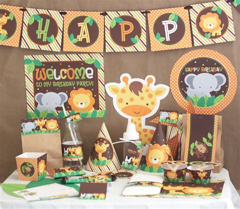 diy printable party decorations stockberry studio safari animals birthday diy printable