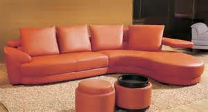 Orange Leather Sofa Set Contemporary Orange Leather Sectional Sofa Set With Ottoman By Toshfurniture Ebay