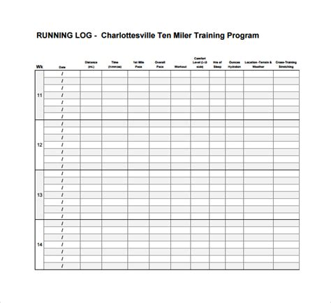 running log template 10 running log templates to sle templates