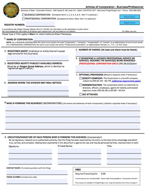 How To Start A Domestic Corporation In Oregon Articles Of Incorporation Articles Of Organization Oregon Template
