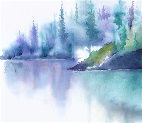 relaxing painting videos turquoise wall art watercolor print mountain landscape
