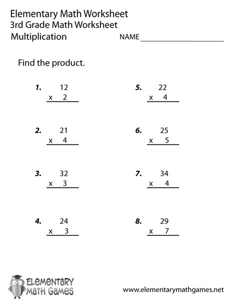 Multiplication Worksheets Free by Printable 3rd Grade Math Worksheets Search Results