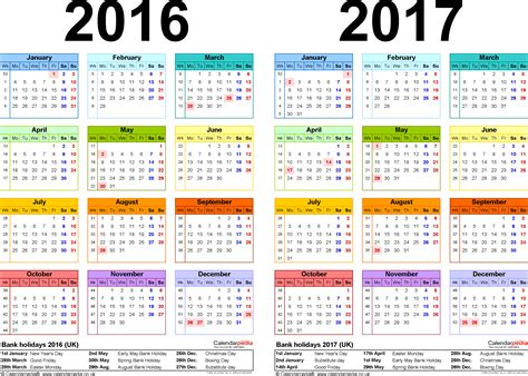 Calendar 2017 Pdf In Two Year Calendars For 2016 2017 Uk For Pdf