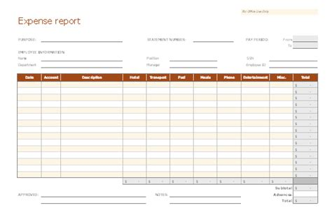 Expense Report Microsoft Office Expense Report Template