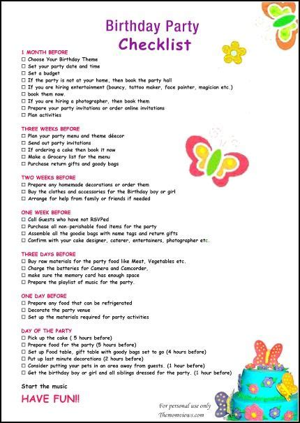 themes list pdf birthday party checklist birthdays pinterest