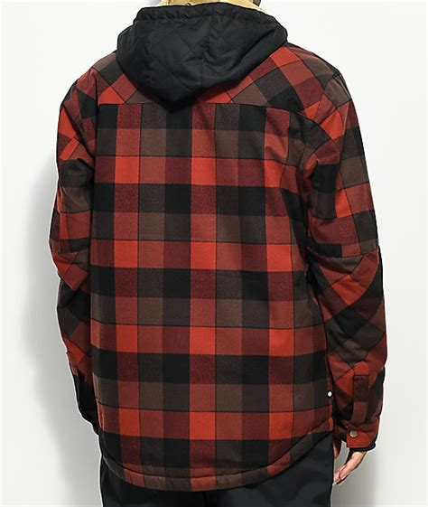 black and white patterned ski jacket 686 woodland red plaid 10k snowboard jacket zumiez