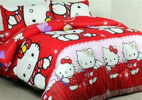 Sprei Hello Merah 180x200x20 1 sprei dan bed cover motif hello merah syalom store