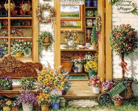 fancy flower shop garden painting in for sale