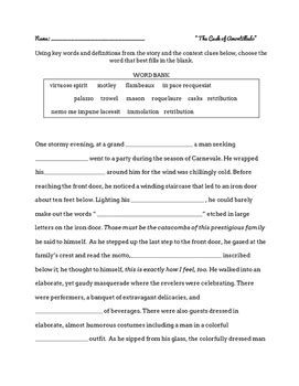 vocabulary worksheet for the cask of amontillado