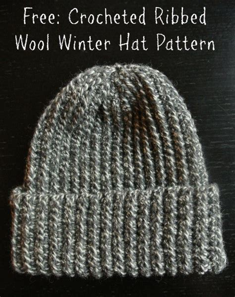 free crochet pattern hat pinterest crochet ribbed wool winter hat free pattern crochet hats