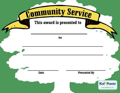 community service certificate template service award template kid pointz