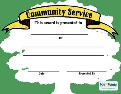 Service Award Template Kid Pointz Community Service Certificate Template Free