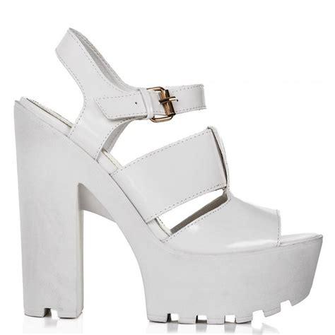 white platform sandal heels buy fiji block heel cleated sole platform sandal shoes