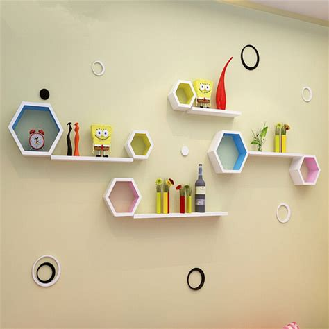 Limited 1set Rak Floating Shelves Decosheet 1set 3pcs Wall Shelf Hexagon Grid Wall Floating Shelves