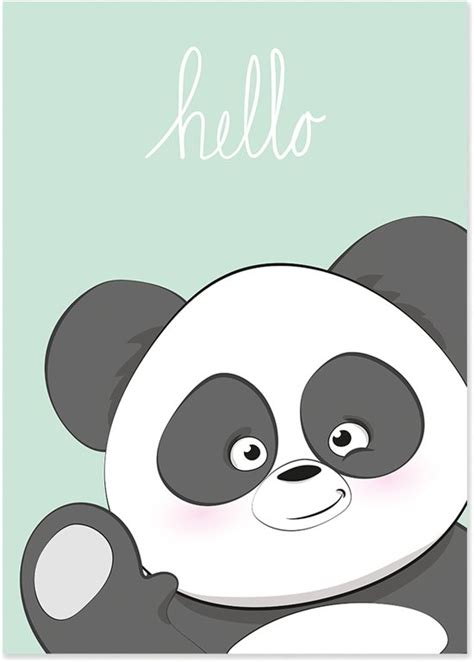 Hello Panda 250gr bol kinderkamer poster panda kleur mint unieke