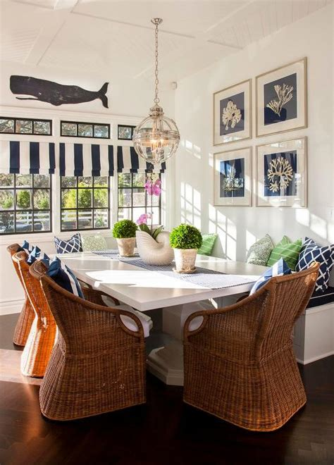 cottage breakfast nook  wicker dining chairs cottage